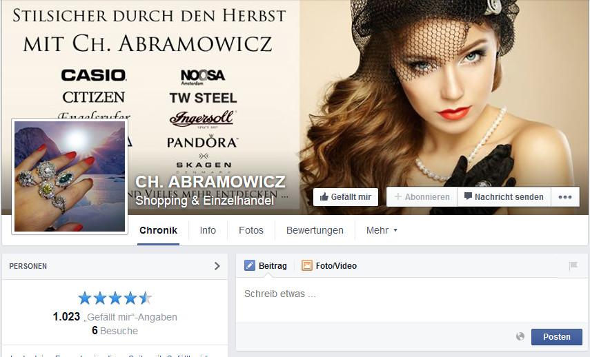 Screenshot der Facebookseite des Stuttgarter Juweliers Ch.Abramowicz